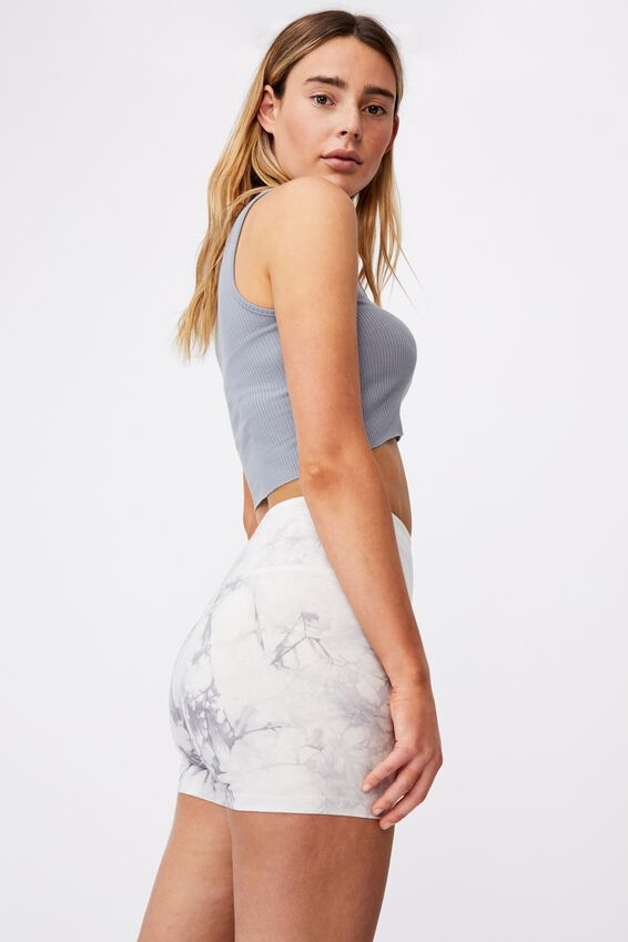 Tie Dye Cheeky High Waisted Bike Short, FOG GREY TIE DYE