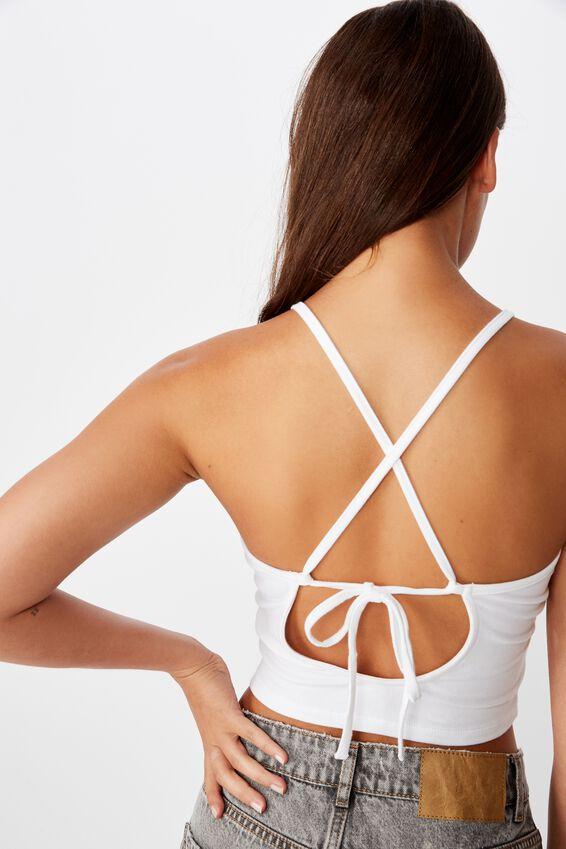 Tie Back Singlet, WHITE