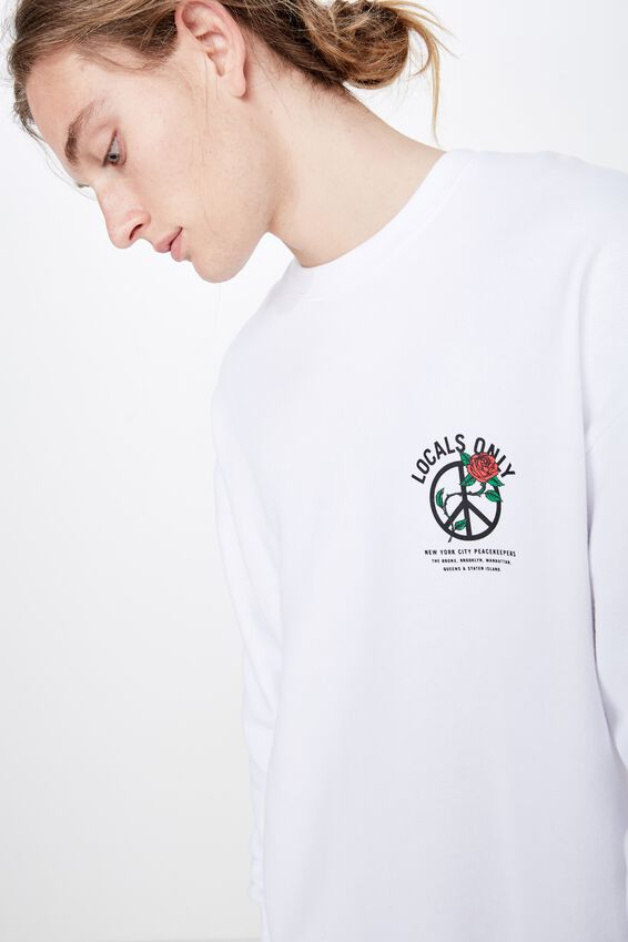 Oversized Graphic Crew, WHITE/PEACEMAKERS
