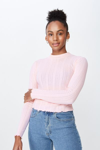 Ls Pointelle Lettuce Edge Funnel Neck, PALE PINK