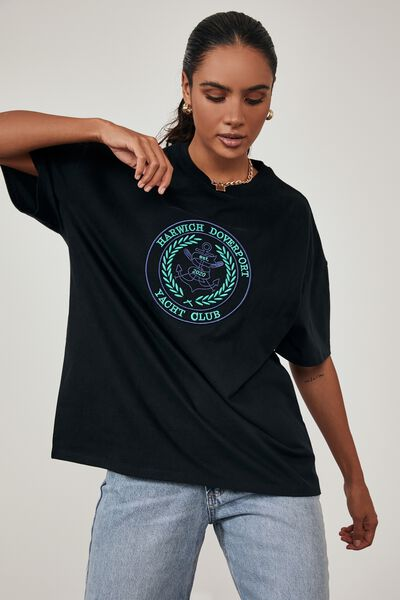Super Relaxed Graphic Tee, BLACK/HARWICH YACHT CLUB