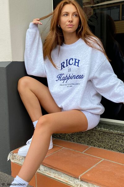 Oversized Graphic Crew, SILVER MARLE/RICH IN HAPPINESS