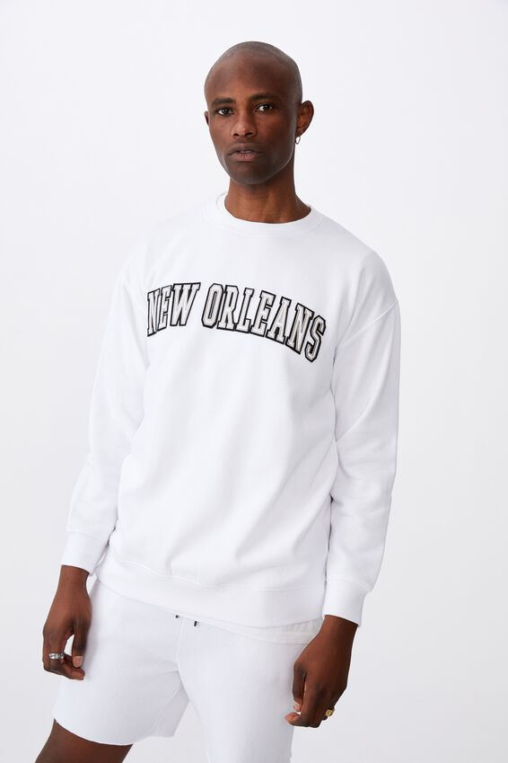 Oversized Graphic Crew, WHITE/NEW ORLEANS