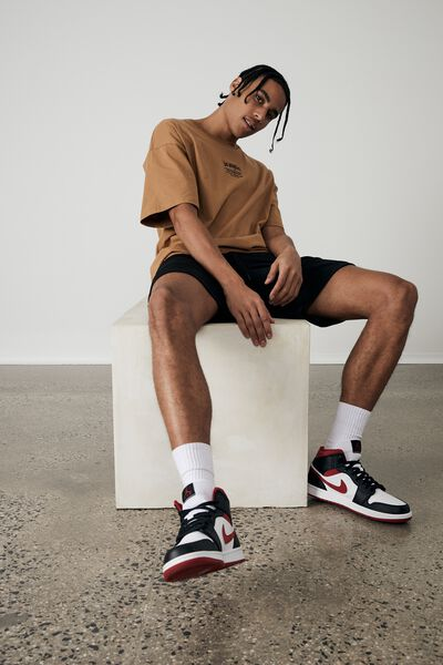 Oversized Graphic T Shirt, TAN/BLACK/LA