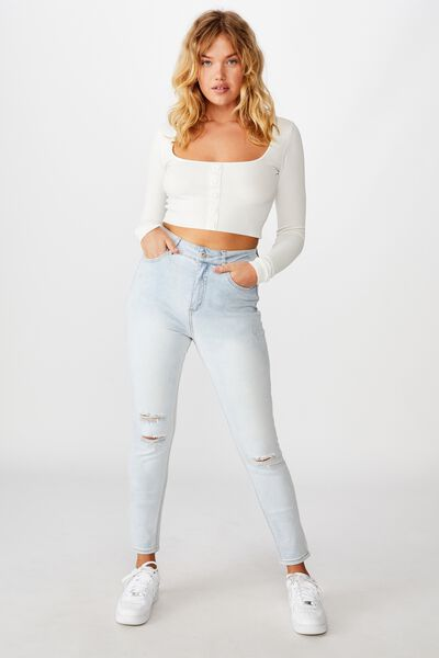 The Skinny High Rise Jean, DISTRESSED FESTIVAL BLUE