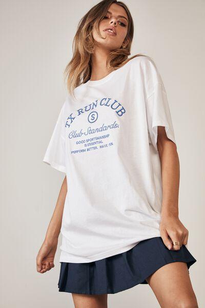 Oversized Graphic T Shirt, WHITE/TX RUN CLUB