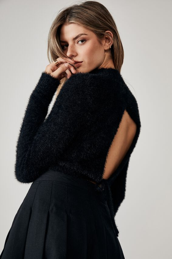 Fluffy Knit Tie Back Top, BLACK