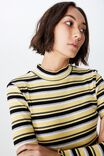 Stripe Rib Lettuce Edge Long Sleeve, JADA STRIPE