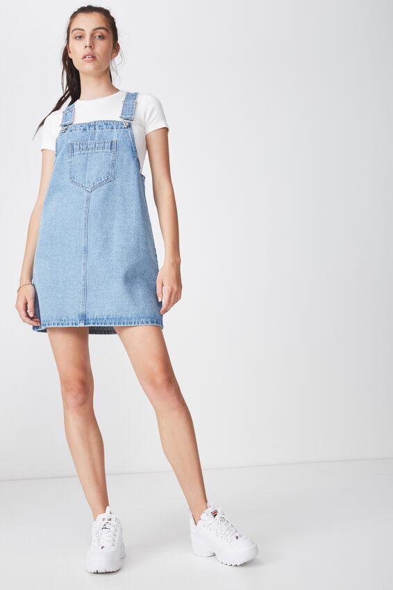 Classic Denim Overall Dress, THRIFT BLUE