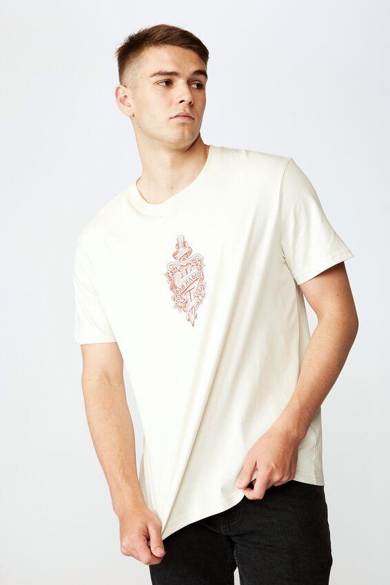 Regular Graphic T Shirt, IVORY BAD HEART