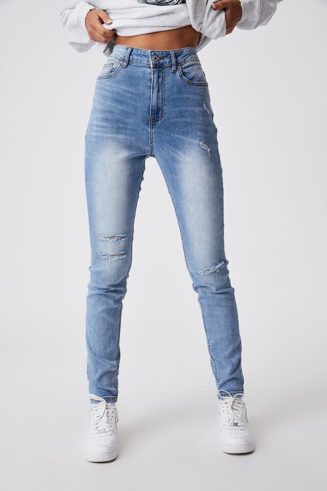 The Skinny High Rise Jean, DISTRESSED BLUE