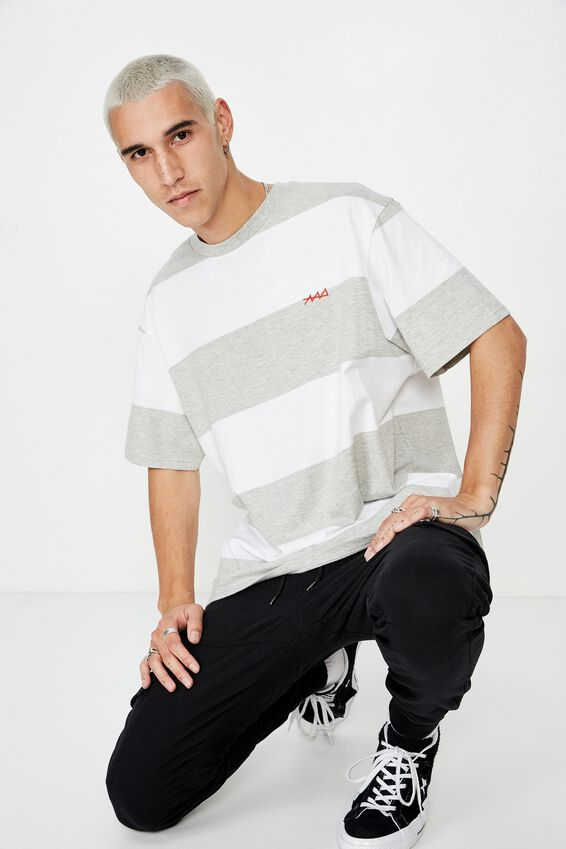 Embroidered Stripe T Shirt, GREY MARLE/BOLD STRIPE