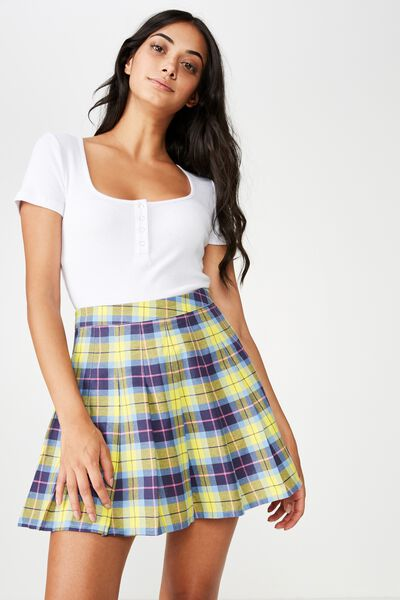 Pleated Skirt, TESSA TARTAN YELLOW