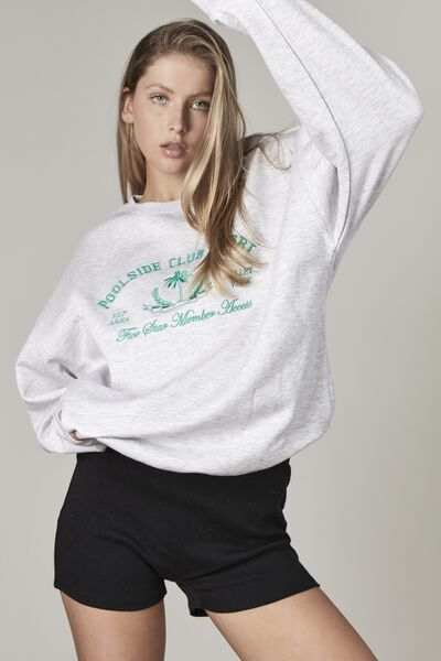 Oversized Graphic Crew, SILVER MARLE/POOLSIDE RESORT