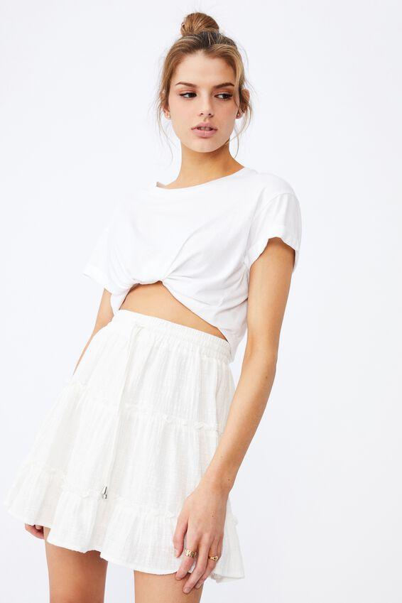 Textured Tiered Skirt, WHITE