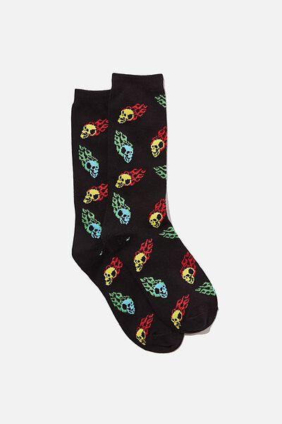 Jersey Sock, FLAMING SKULL YARDAGE