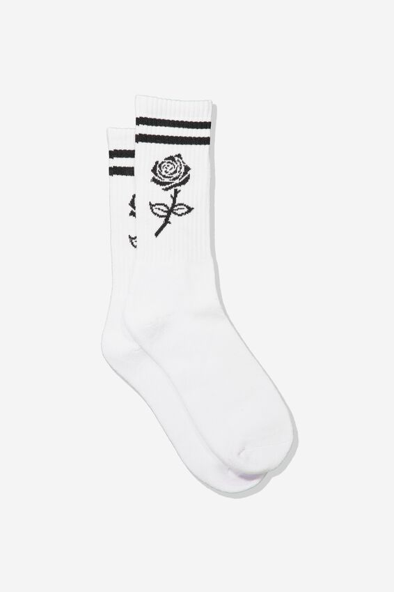 Retro Ribbed Socks, MONO ROSE STRIPE_WTE