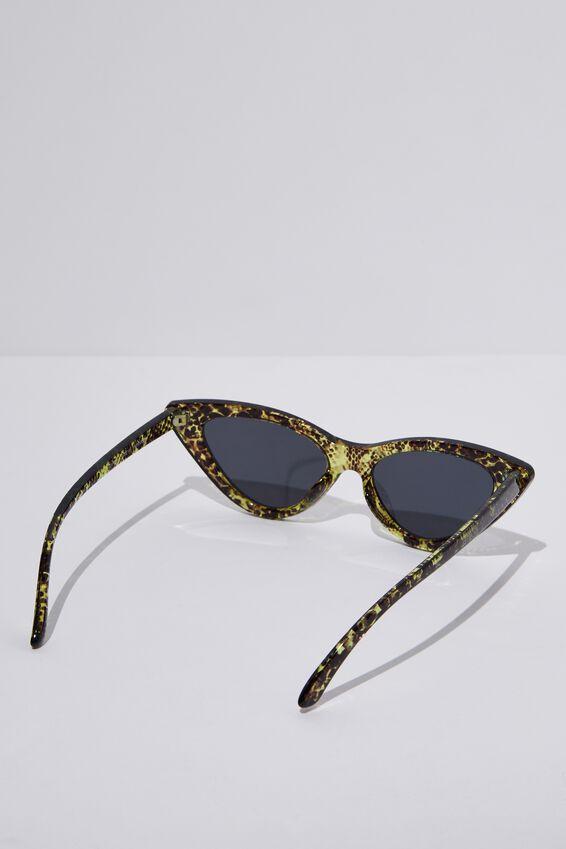 Zarah Cateye Sunglasses, S.CRY NEON YEL SNAKE_SMK