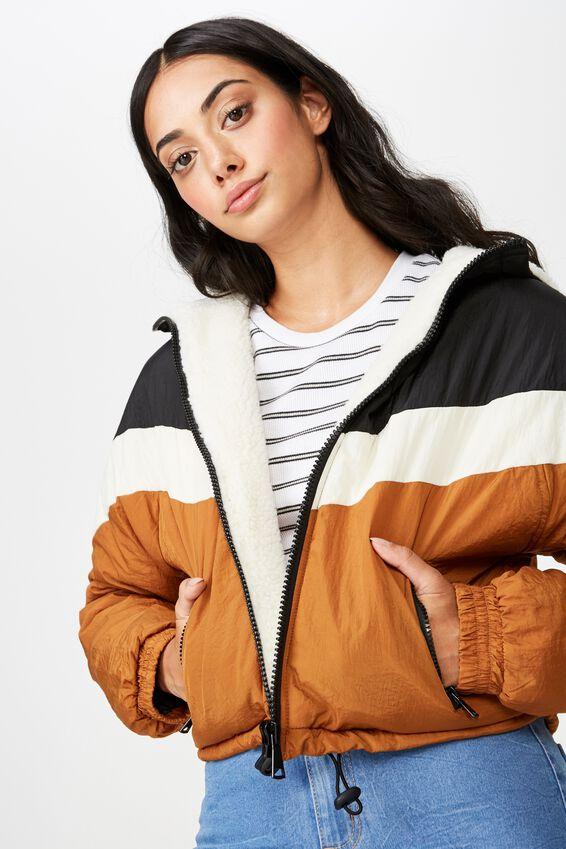 Chevron Shearling Jacket, BLACK/WHITE/BROWN