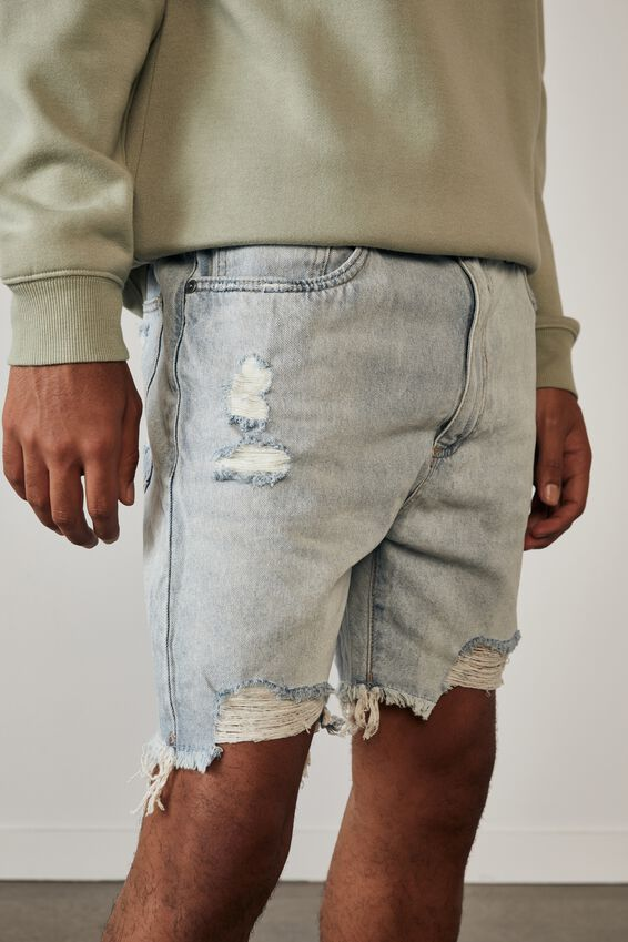 Ripped Rigid Denim Short, LIGHT BLUE