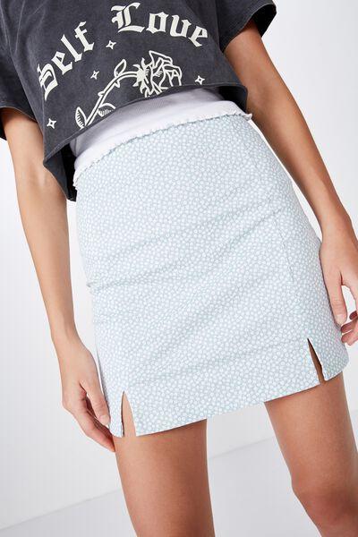 Double Split Mini Skirt, DAINTY FLORAL ETHER