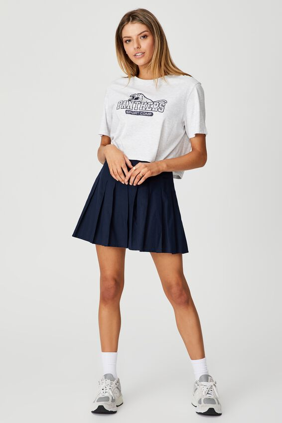 Short Sleeve Crop Graphic T Shirt, SILVER MARLE/PANTHERS