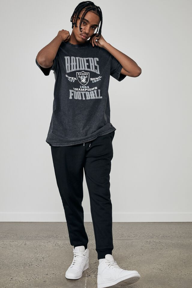 Relaxed Nfl T Shirt, LCN NFL WASHED BLACK/RAIDERS SUPERBOWL