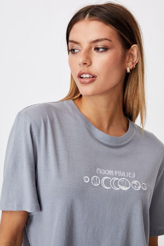 Short Sleeve Crop Graphic T Shirt, FOG GREY/MOON PHASES
