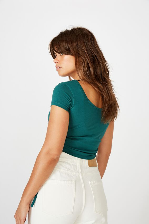 Ruched Side Short Sleeve Top, PACIFIC