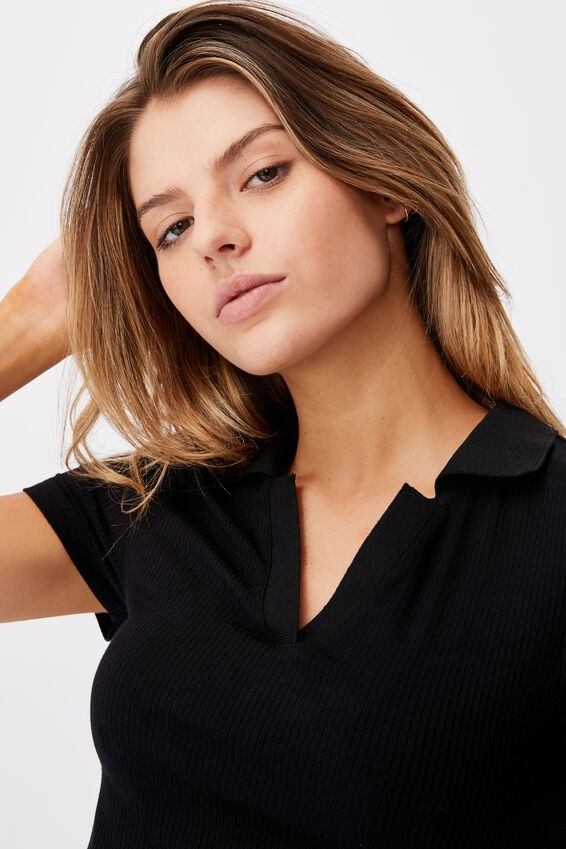Rib Polo Top, BLACK