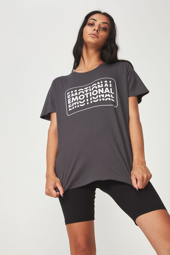 Relaxed Graphic T Shirt, ASPHALT_EMOTIONAL RETRO