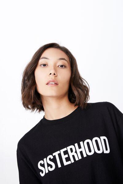 Womens Day Graphic T Shirt, BLACK/SISTERHOOD