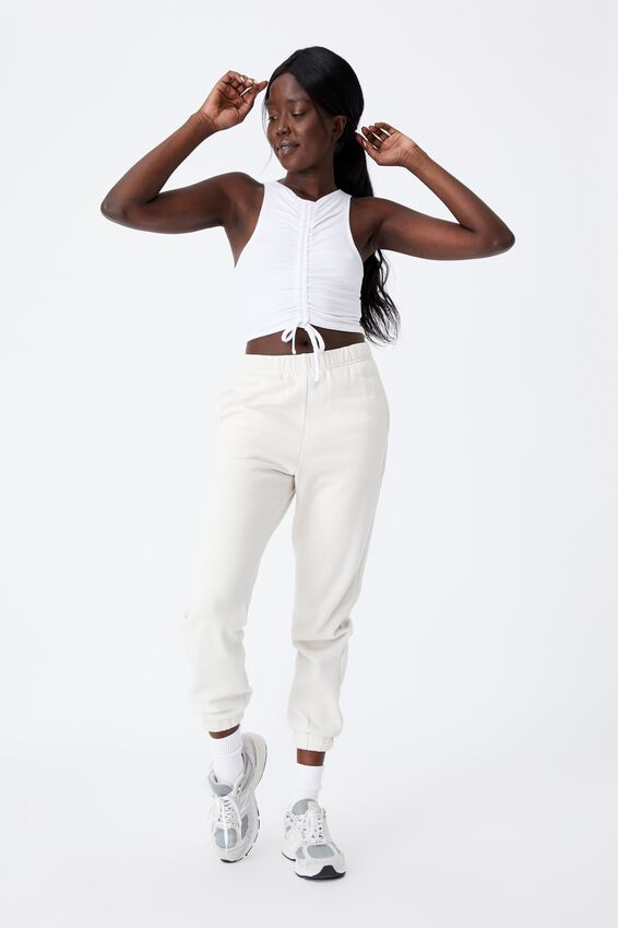 Ruched Front Tank, WHITE