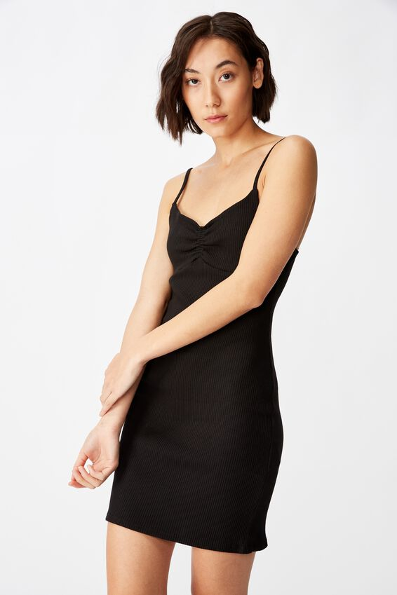 Ruched Front Strappy Dress, BLACK