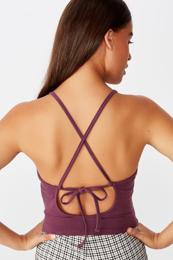 Tie Back Singlet, PRUNE PURPLE