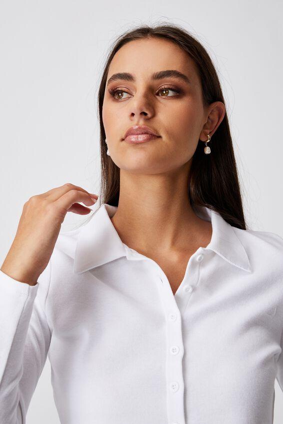 Long Sleeve Collared Button Thru Top, WHITE