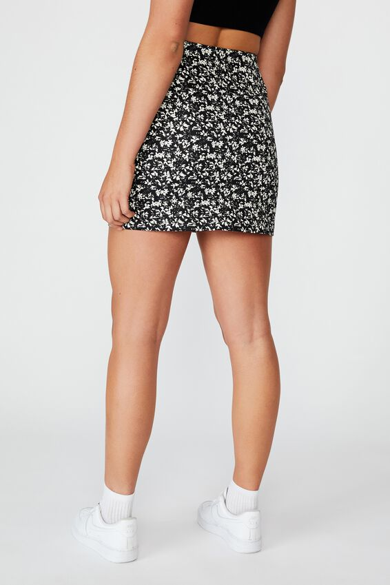 Double Split Mini Skirt, CRUSHED BLACK FLORAL