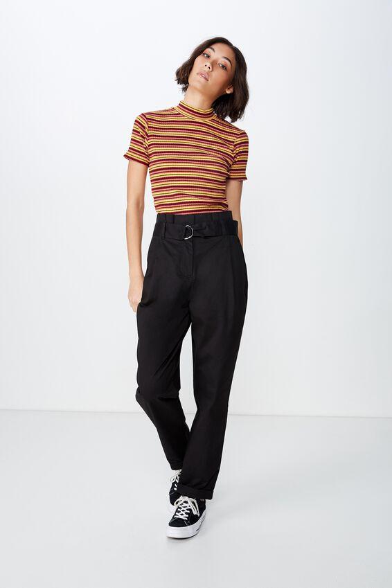 Paperbag Belted Pant, BLACK