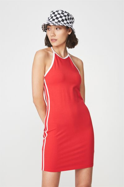 Cut Away Mini Dress, LYCHEE_WHITE TAPE