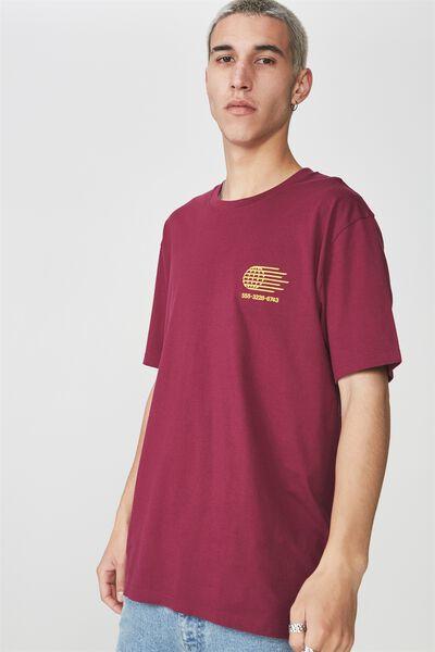 Ss Graphic T Shirt, MERLOT/GLOBE CALLER