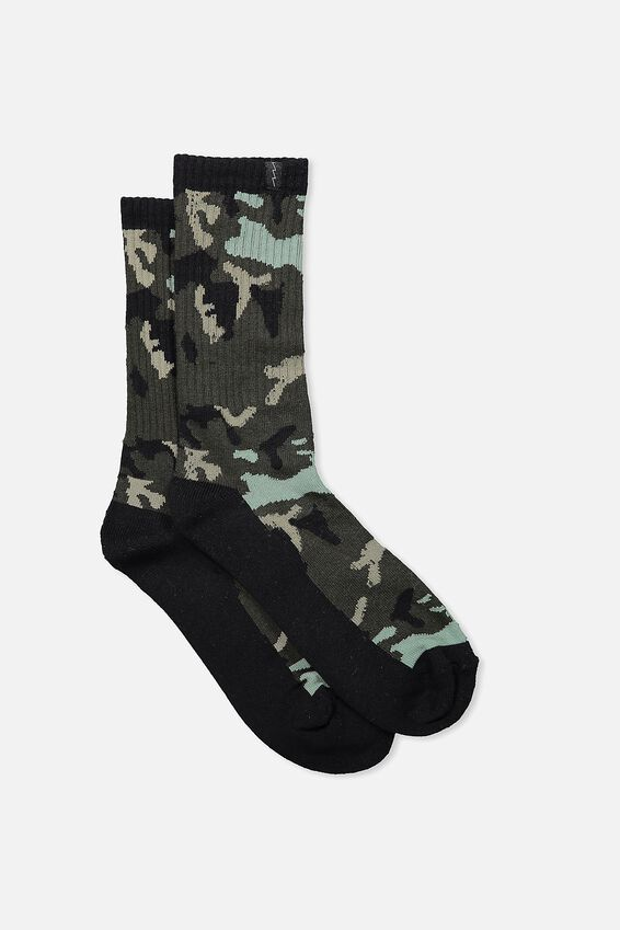 Retro Ribbed Socks, CAMO_BLK HEEL