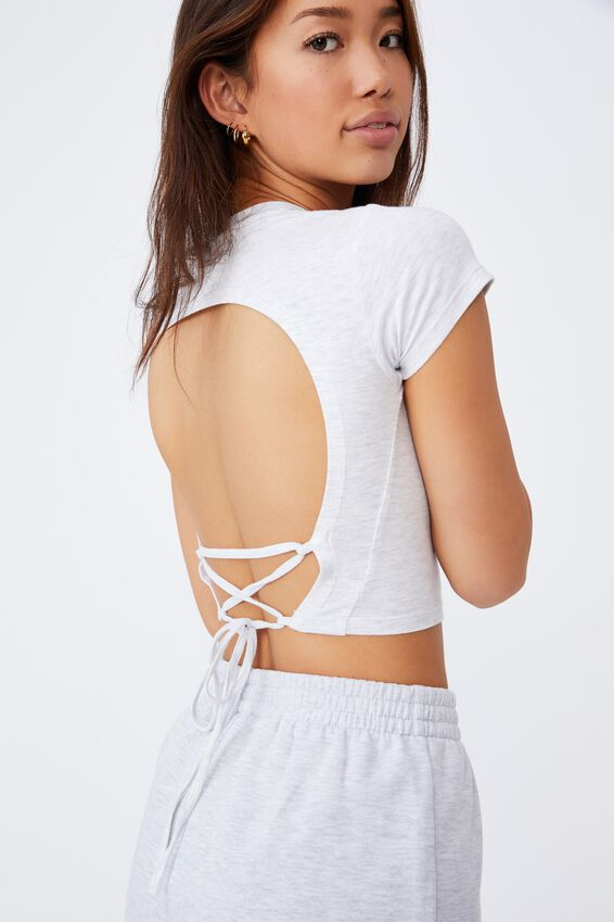 Criss Cross Short Sleeve Top, SILVER MARLE
