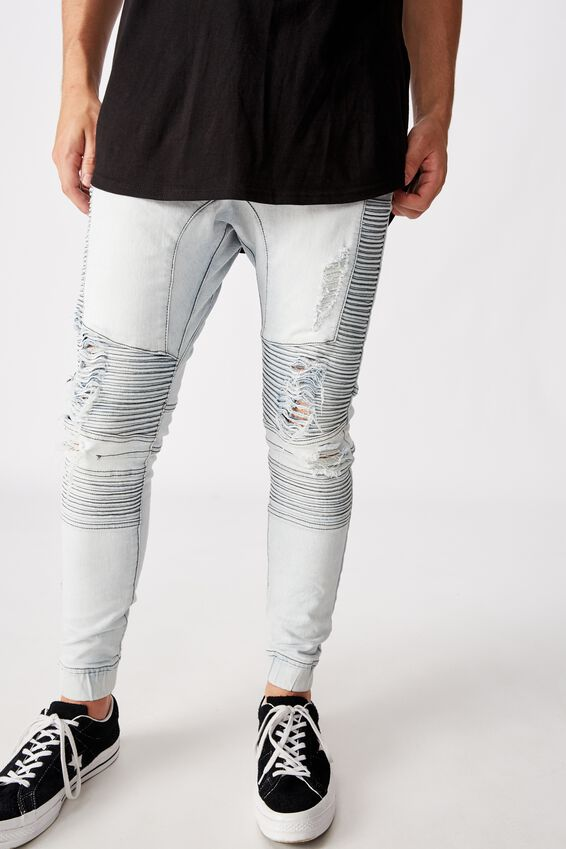 Moto Denim Cuffed Jean, PALE BLUE DISTRESSED