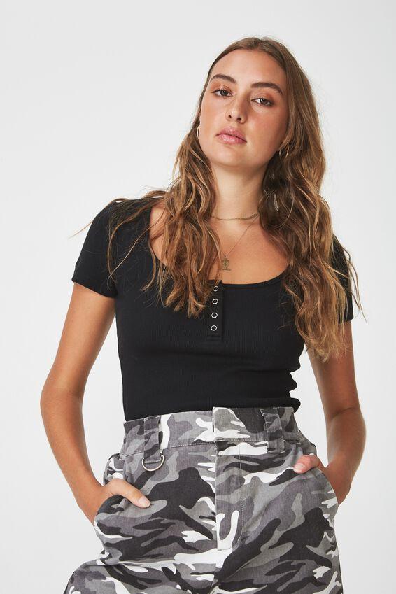 Short Sleeve Rib Henley, BLACK