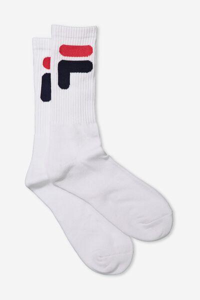 Fila Ribbed Sock, WHITE_F