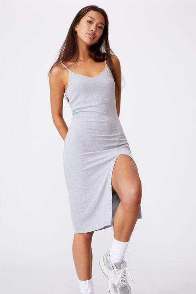 Strappy Side Split Rib Midi Dress, GREY MARLE