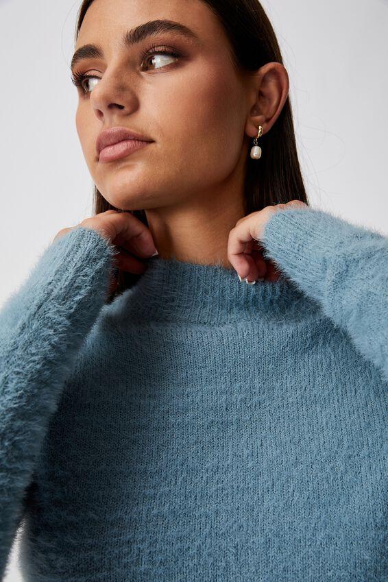 Fluffy Knit Tie Back Top, PETROL BLUE