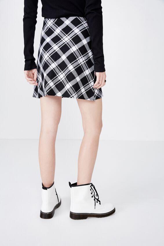 A Line Check Skirt, JEANIE BLACK/WHITE CHECK