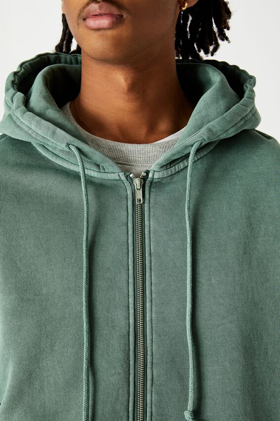 Washed Zip Through Hoodie, WASHED KHAKI