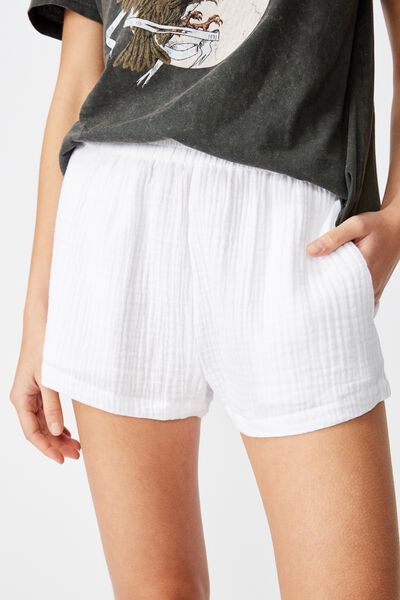 Cheesecloth Short, WHITE